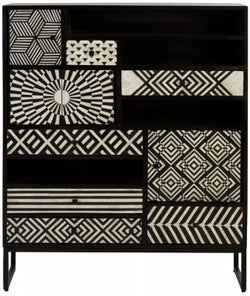 Esher Black Bone Inlay Multi Drawer Cabinet