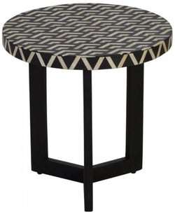Esher Black Bone Inlay Three Legged Round Side Table