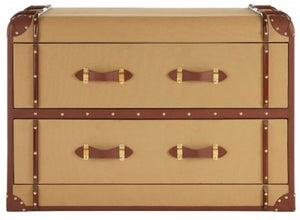 Radlett 2 Drawer Canvas Cabinet with Leather Trim