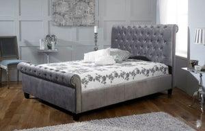 Limelight Orbit Plush Silver Velvet Bed