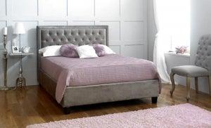 Limelight Rhea Plush Silver Velvet Bed