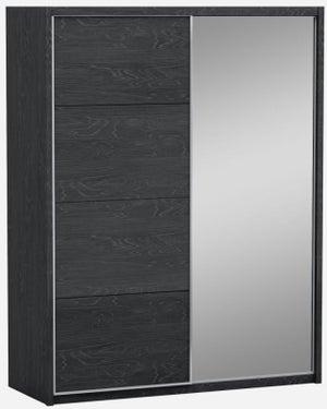 Lutyen Slate Grey High Gloss 2 Door 1 Mirror Door Sliding Wardrobe