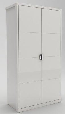 Velour White High Gloss Hinged Wardrobe - 2 Door