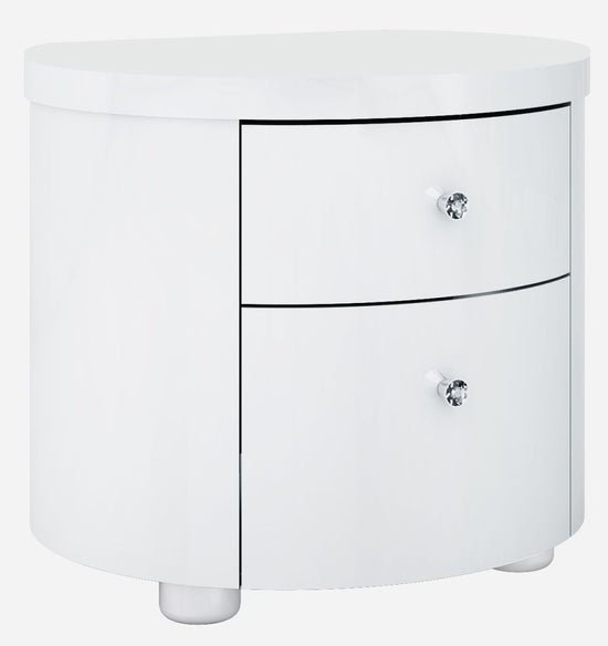 Velour White High Gloss Bedside Cabinet