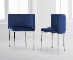Mark Harris Abingdon Blue Velvet and Chrome Dining Chair (Set of 4)