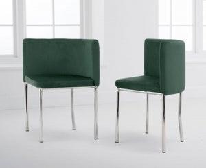 Mark Harris Abingdon Green Velvet and Chrome Dining Chair (Set of 4)