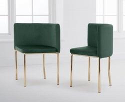 Mark Harris Abingdon Green Velvet and Gold Dining Chair (Set of 4)