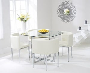 Mark Harris Abingdon Stowaway Dining Table and 4 Cream Dining Chairs