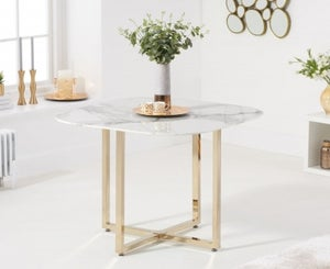 Mark Harris Abingdon White Marble and Gold Dining Table