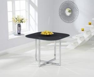 Mark Harris Abingdon Stowaway Grey Glass and Chrome Dining Table