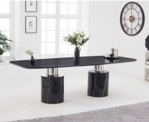 Mark Harris Adeline 260cm Black Marble Dining Table