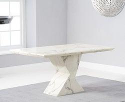 Mark Harris Allen White Engineered Marble 160cm Dining Table