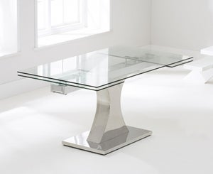 Mark Harris Amber Extending Dining Table - Glass and Chrome