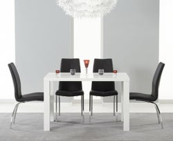 Mark Harris Ava White High Gloss Small Dining Table and 4 Carsen Black Chairs