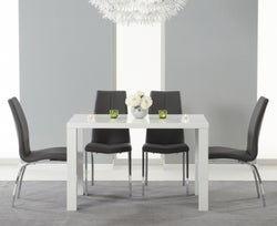 Mark Harris Ava White High Gloss Small Dining Table and 4 Carsen Grey Chairs