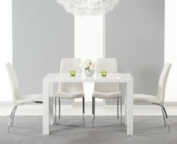Mark Harris Ava White High Gloss Small Dining Table and 4 Carsen Ivory Chairs