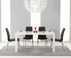 Mark Harris Ava White High Gloss Medium Dining Table and 4 Carsen Black Chairs