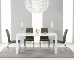 Mark Harris Ava White High Gloss Medium Dining Table and 4 Carsen Grey Chairs