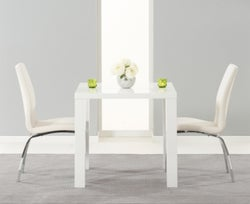 Mark Harris Ava White High Gloss Square Dining Table and 2 Carsen Ivory Chairs