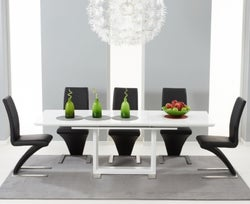 Mark Harris Beckley White High Gloss Extending Dining Table and 6 Hereford Black Chairs