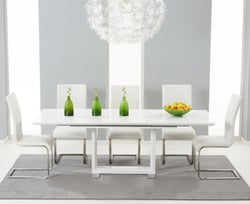 Mark Harris Beckley White High Gloss Extending Dining Table and 6 Malibu Ivory Chairs