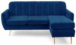 Mark Harris Bina Blue Velvet 3 Seater Chaise Corner Sofa