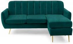 Mark Harris Bina Green Velvet 3 Seater Chaise Corner Sofa