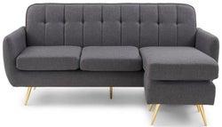 Mark Harris Bina Grey Linen 3 Seater Chaise Corner Sofa