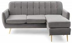 Mark Harris Bina Grey Velvet 3 Seater Chaise Corner Sofa