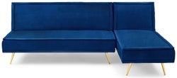 Mark Harris Breva Blue Velvet 3 Seater Chaise Corner Sofa Bed