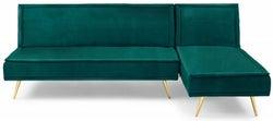 Mark Harris Breva Green Velvet 3 Seater Chaise Corner Sofa Bed