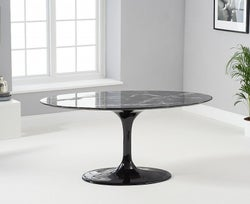 Mark Harris Brittney Oval Black Marble Effect Top 160cm Dining Table