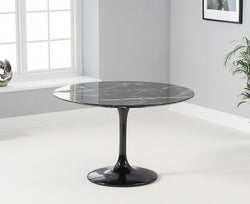 Mark Harris Brittney Round Black Marble Effect Top 120cm Dining Table