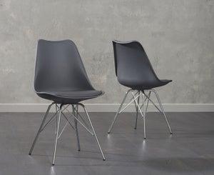 Mark Harris Calabasus Dark Grey Faux Leather Dining Chair (Pair)