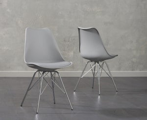 Mark Harris Calabasus Light Grey Faux Leather Dining Chair (Pair)