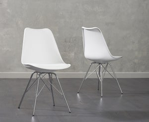 Mark Harris Calabasus White Faux Leather Dining Chair (Pair)