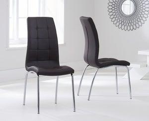 Mark Harris California Brown Faux Leather Dining Chair (Pair)