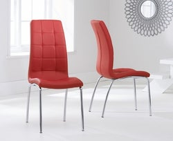 Mark Harris California Red Faux Leather Dining Chair (Pair)