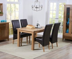 Mark Harris Cambridge Oak Extending Dining Table and 4 Roma Brown Bycast Leather Chairs
