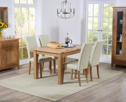 Mark Harris Cambridge Oak Extending Large Dining Table and 4 Atlanta Cream Faux Leather Chairs