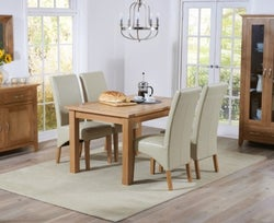 Mark Harris Cambridge Oak Extending Large Dining Table and 4 Roma Cream Bycast Leather Chairs