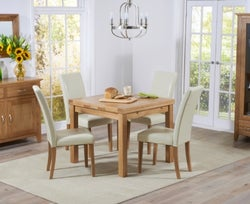 Mark Harris Cambridge Oak Square Extending Dining Table and 4 Atlanta Cream Faux Leather Chairs