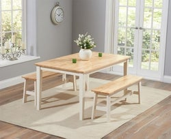 Mark Harris Chichester Oak and Cream Large Dining Table and 2 Benches