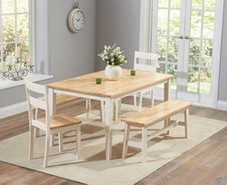 Mark Harris Chichester Oak and Cream Large Dining Table with 2 Chairs and 2 Benches