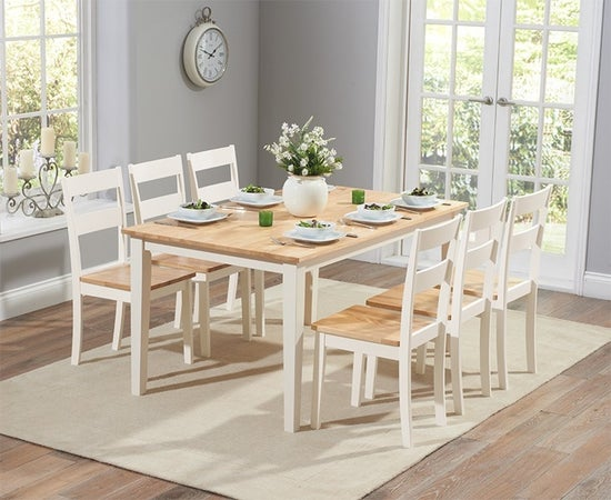 Mark Harris Chichester Oak and Cream Large Dining Table and Chairs
