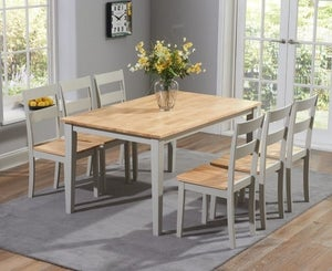 Mark Harris Chichester Oak and Grey Large Dining Table and 6 Chairs