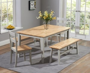Mark Harris Chichester Oak and Grey Large Dining Table with 2 Chairs and 2 Benches