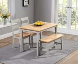 Mark Harris Chichester Oak and Grey Dining Table with 2 Chairs and Bench