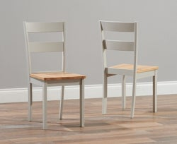 Mark Harris Chichester Oak and Grey Dining Chairs (Pair)