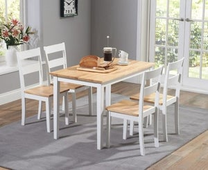 Mark Harris Chichester Oak and White Dining Table and 4 Chairs